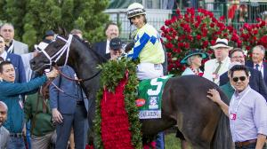 Always Dreaming closely tracked the pace to win the 2017 Kentucky Derby